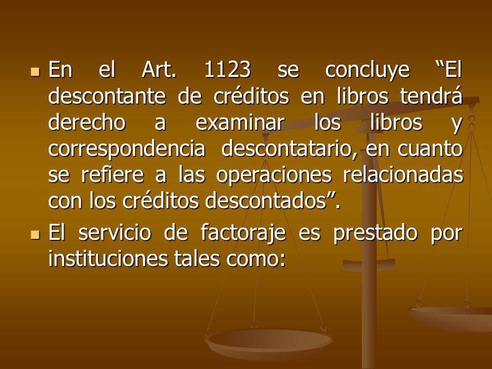 En el Art. 1123 se concluye El descontante de créditos en libros tendrá derecho a examinar los libros y correspondencia descontatario, en cuanto se re