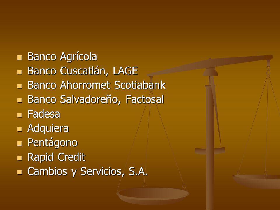 Banco Agrícola Banco Agrícola Banco Cuscatlán, LAGE Banco Cuscatlán, LAGE Banco Ahorromet Scotiabank Banco Ahorromet Scotiabank Banco Salvadoreño, Fac