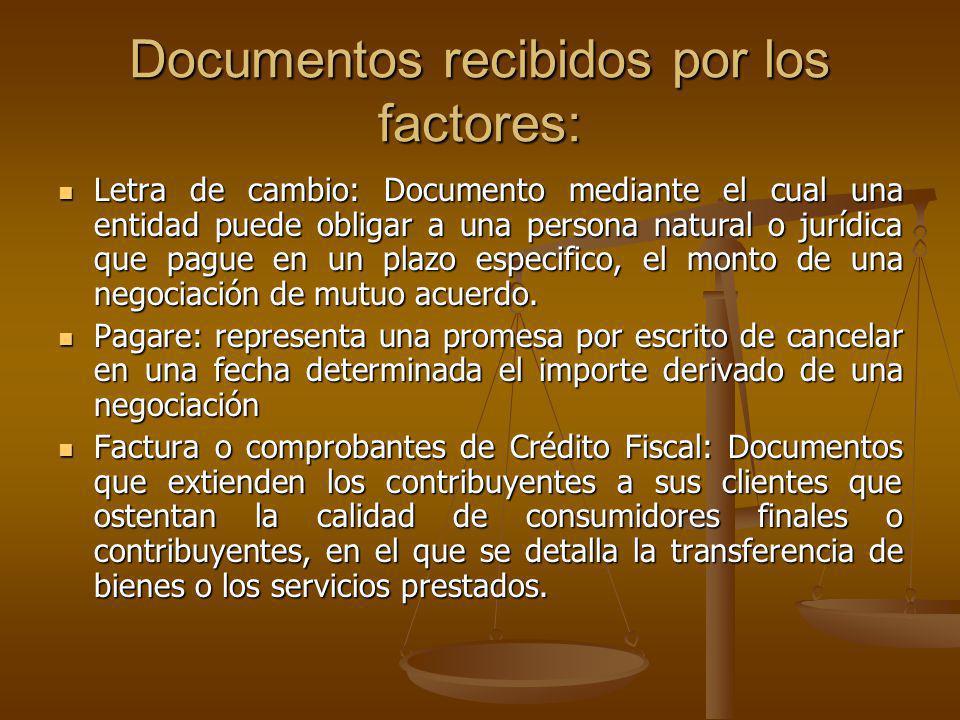 Documentos recibidos por los factores: Letra de cambio: Documento mediante el cual una entidad puede obligar a una persona natural o jurídica que pagu