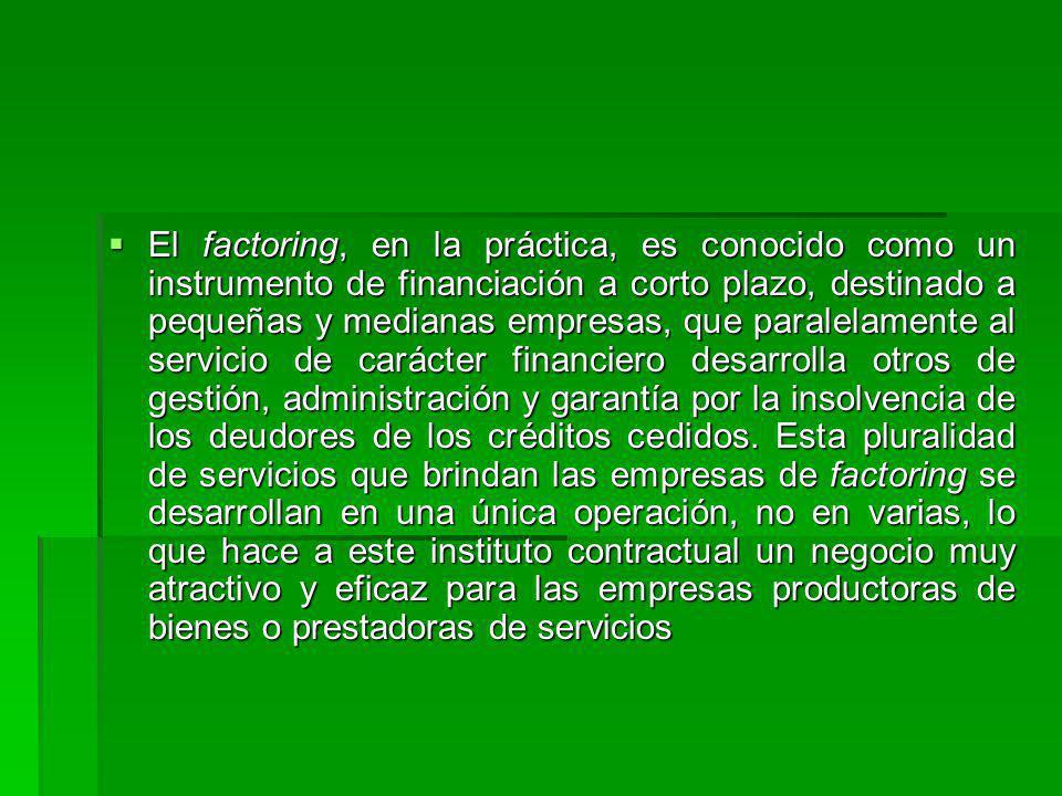 El factoring, en la práctica, es conocido como un instrumento de financiación a corto plazo, destinado a pequeñas y medianas empresas, que paralelamen