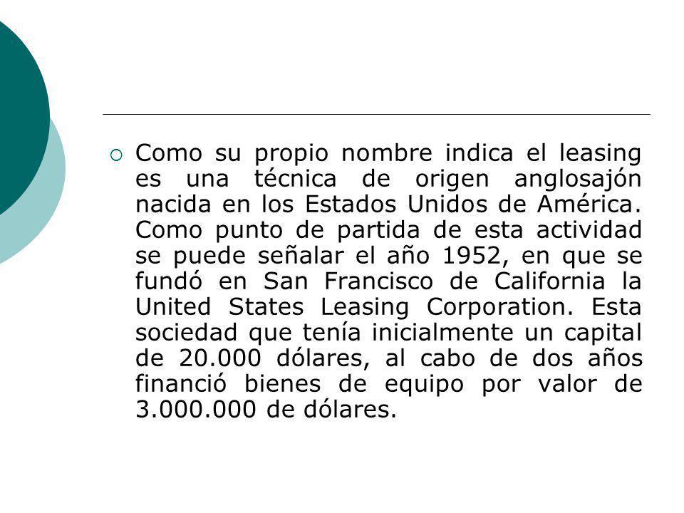 Como su propio nombre indica el leasing es una técnica de origen anglosajón nacida en los Estados Unidos de América. Como punto de partida de esta act