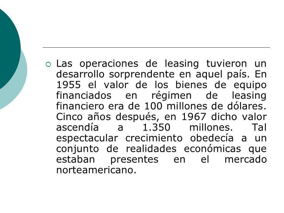 Las operaciones de leasing tuvieron un desarrollo sorprendente en aquel país. En 1955 el valor de los bienes de equipo financiados en régimen de leasi