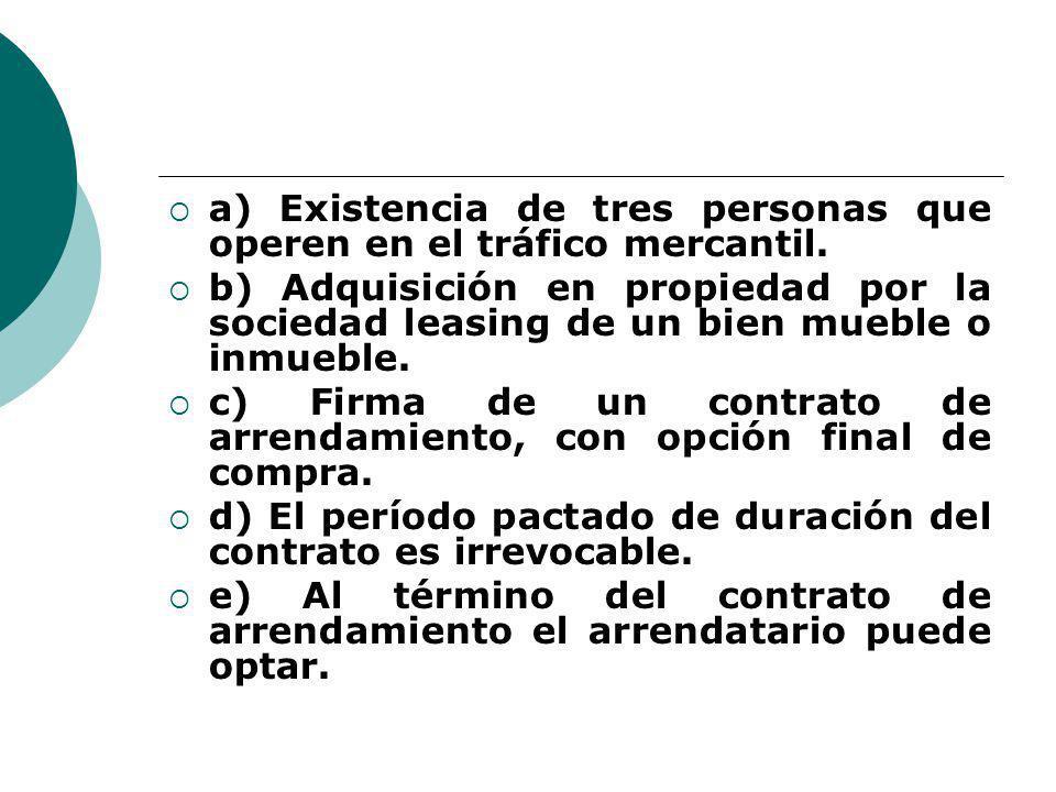 a) Existencia de tres personas que operen en el tráfico mercantil. b) Adquisición en propiedad por la sociedad leasing de un bien mueble o inmueble. c