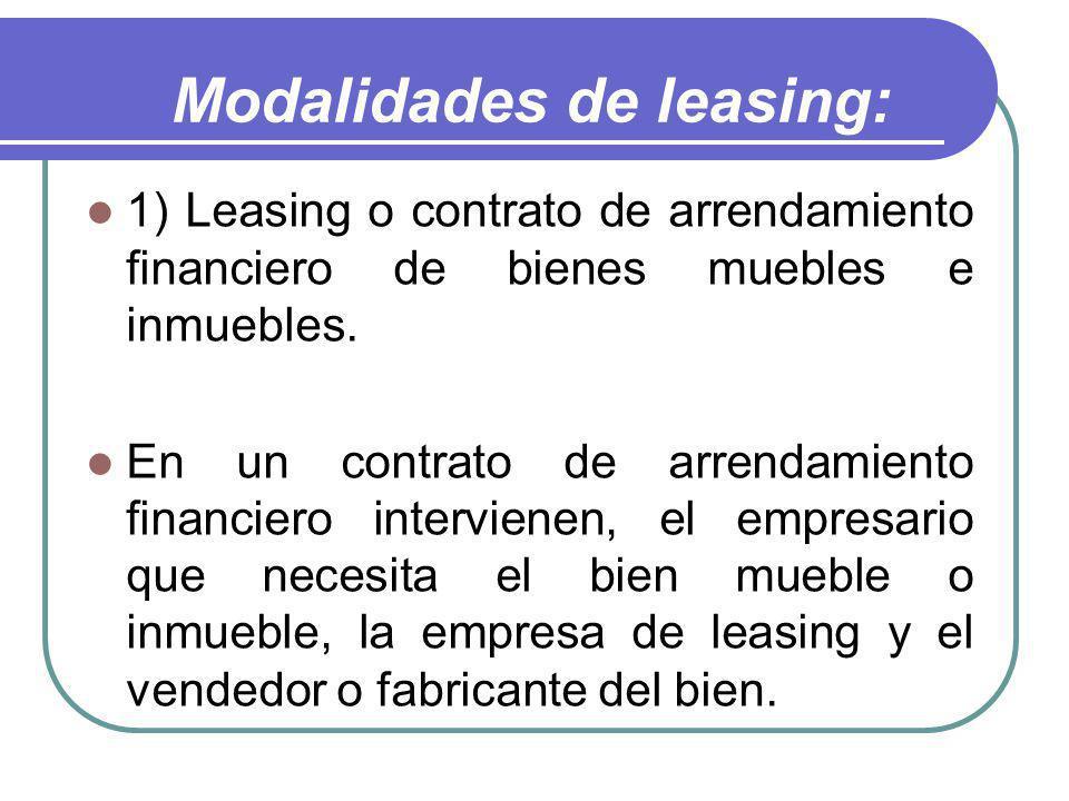 Modalidades de leasing: 1) Leasing o contrato de arrendamiento financiero de bienes muebles e inmuebles. En un contrato de arrendamiento financiero in