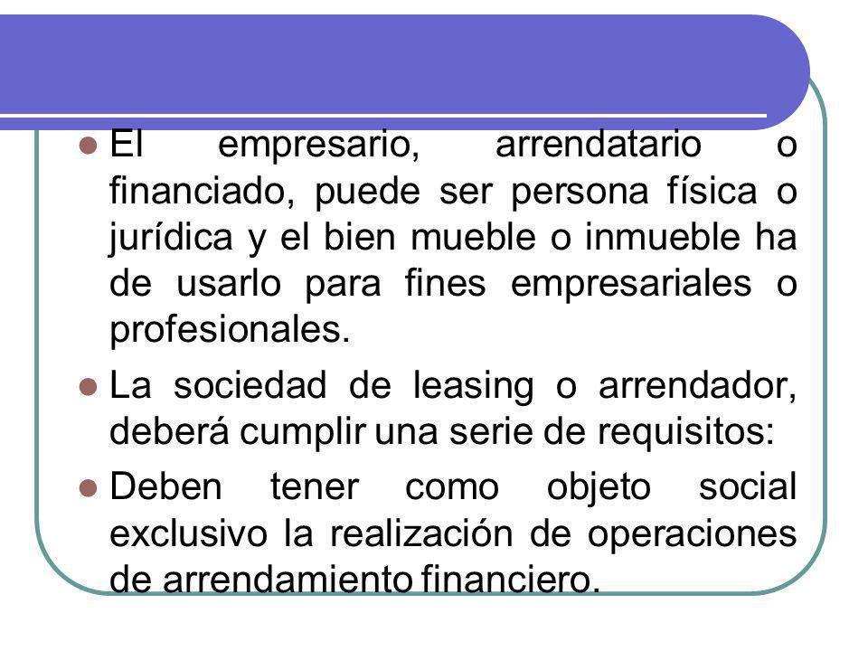 El empresario, arrendatario o financiado, puede ser persona física o jurídica y el bien mueble o inmueble ha de usarlo para fines empresariales o prof