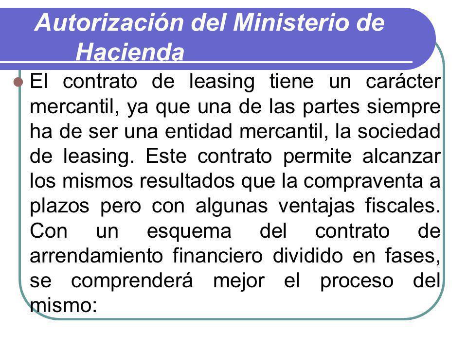 Autorización del Ministerio de Hacienda El contrato de leasing tiene un carácter mercantil, ya que una de las partes siempre ha de ser una entidad mer