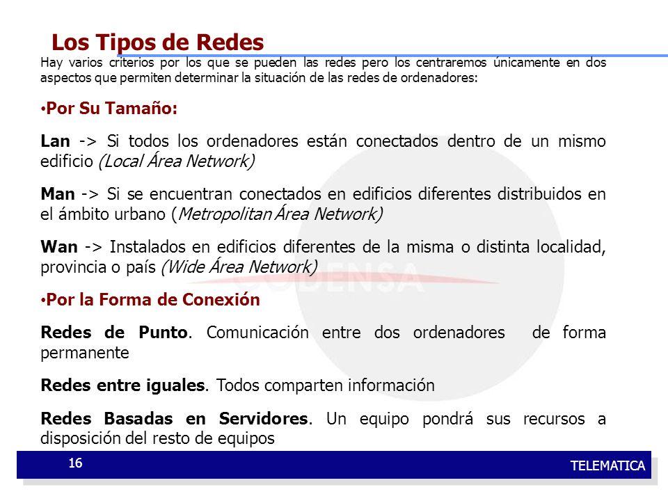 TELEMATICA 16 Los Tipos de Redes Hay varios criterios por los que se pueden las redes pero los centraremos únicamente en dos aspectos que permiten det