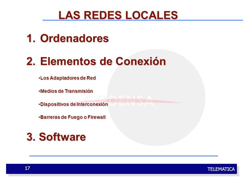 TELEMATICA 17 LAS REDES LOCALES 1.Ordenadores 2.Elementos de Conexión Los Adaptadores de RedLos Adaptadores de Red Medios de TransmisiónMedios de Tran