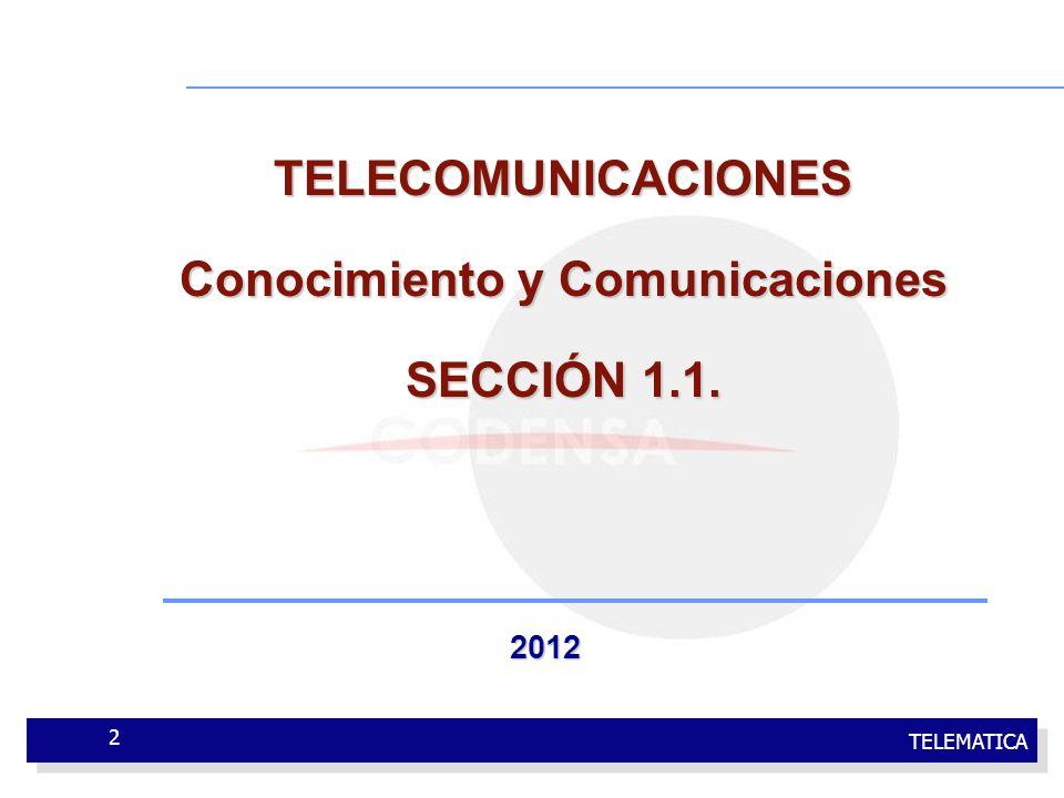 TELEMATICA 2 TELECOMUNICACIONES Conocimiento y Comunicaciones SECCIÓN 1.1. 2012