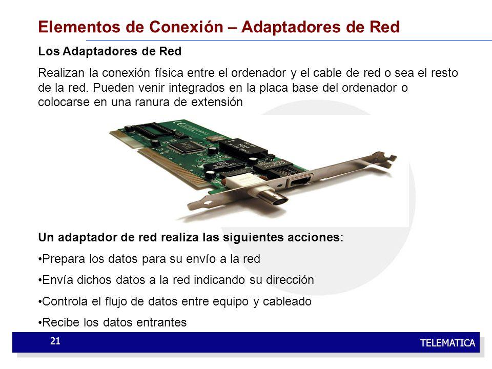 TELEMATICA 21 Elementos de Conexión – Adaptadores de Red Los Adaptadores de Red Realizan la conexión física entre el ordenador y el cable de red o sea
