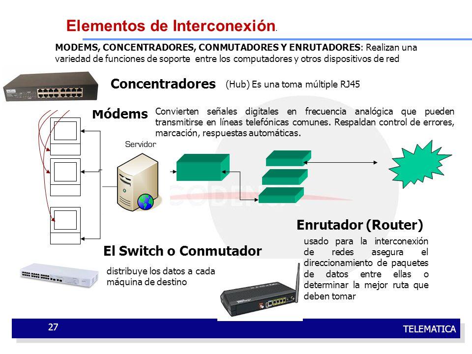 TELEMATICA 27 MODEMS, CONCENTRADORES, CONMUTADORES Y ENRUTADORES: Realizan una variedad de funciones de soporte entre los computadores y otros disposi