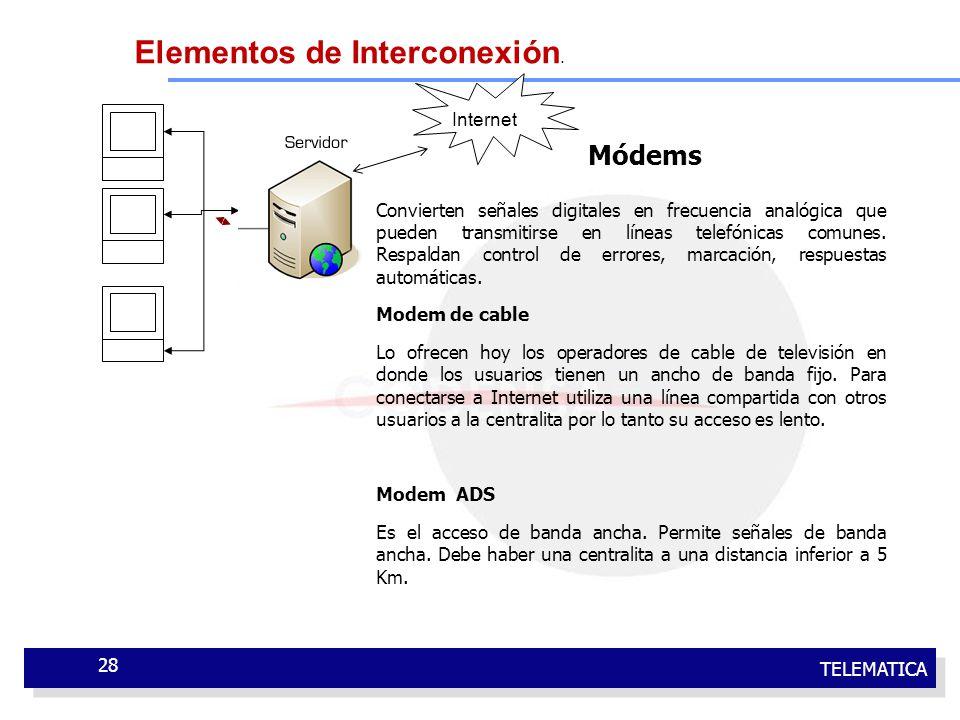 TELEMATICA 28 Convierten señales digitales en frecuencia analógica que pueden transmitirse en líneas telefónicas comunes. Respaldan control de errores