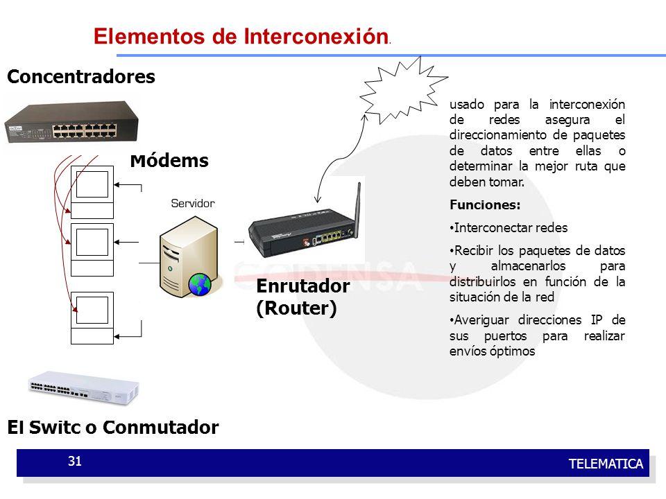 TELEMATICA 31 El Switc o Conmutador Enrutador (Router) Módems Concentradores usado para la interconexión de redes asegura el direccionamiento de paque