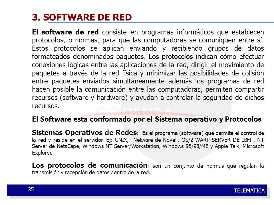 TELEMATICA 35 3. SOFTWARE DE RED El software de red consiste en programas informáticos que establecen protocolos, o normas, para que las computadoras