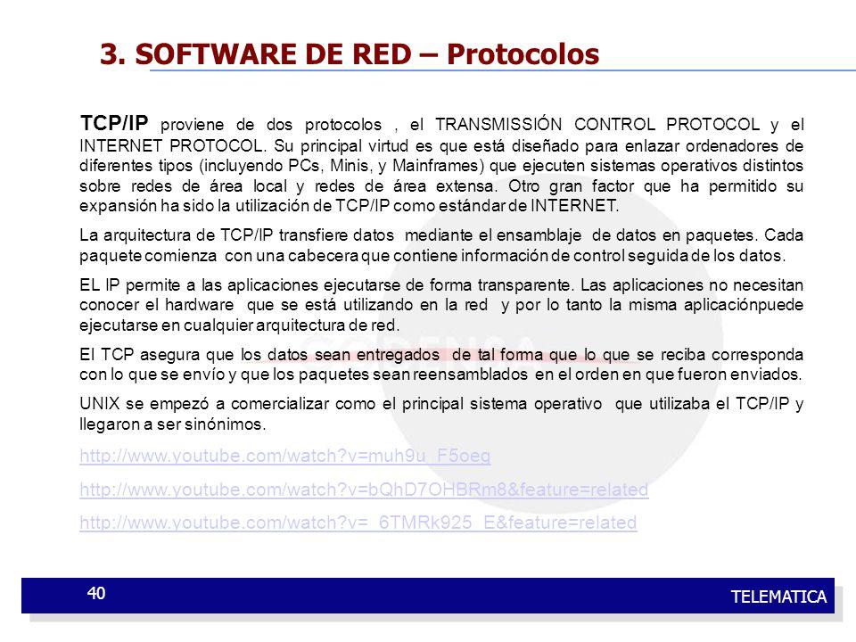 TELEMATICA 40 3. SOFTWARE DE RED – Protocolos TCP/IP proviene de dos protocolos, el TRANSMISSIÓN CONTROL PROTOCOL y el INTERNET PROTOCOL. Su principal