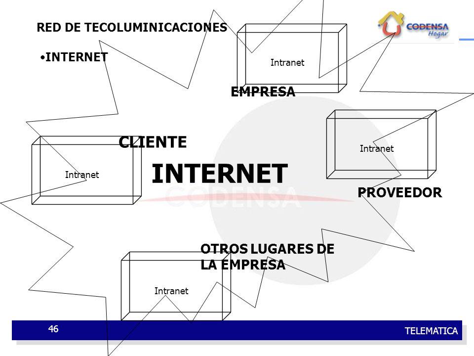TELEMATICA 46 RED DE TECOLUMINICACIONES INTERNET Intranet EMPRESA PROVEEDOR CLIENTE OTROS LUGARES DE LA EMPRESA