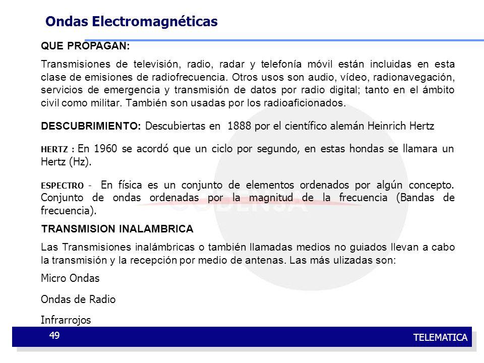 TELEMATICA 49 QUE PROPAGAN: Transmisiones de televisión, radio, radar y telefonía móvil están incluidas en esta clase de emisiones de radiofrecuencia.
