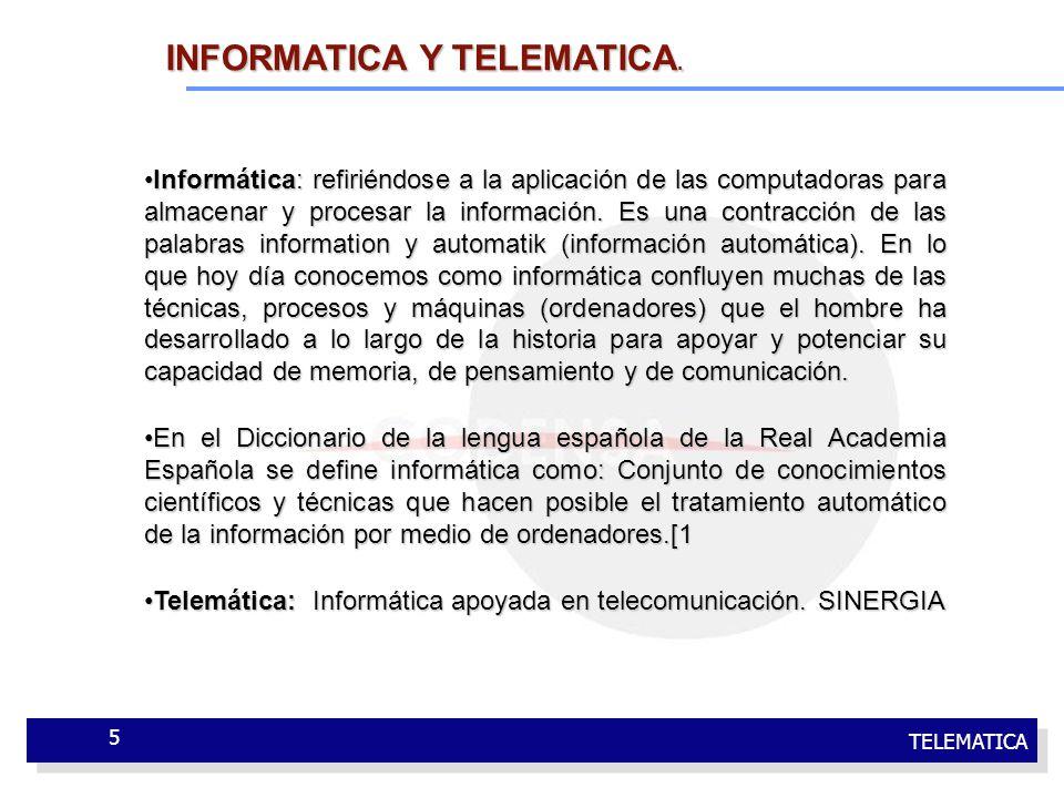 TELEMATICA 5 Informática: refiriéndose a la aplicación de las computadoras para almacenar y procesar la información. Es una contracción de las palabra