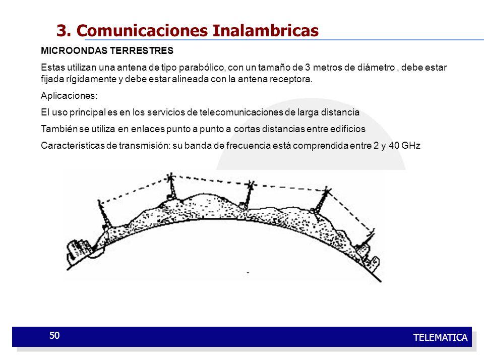 TELEMATICA 50 3. Comunicaciones Inalambricas MICROONDAS TERRESTRES Estas utilizan una antena de tipo parabólico, con un tamaño de 3 metros de diámetro