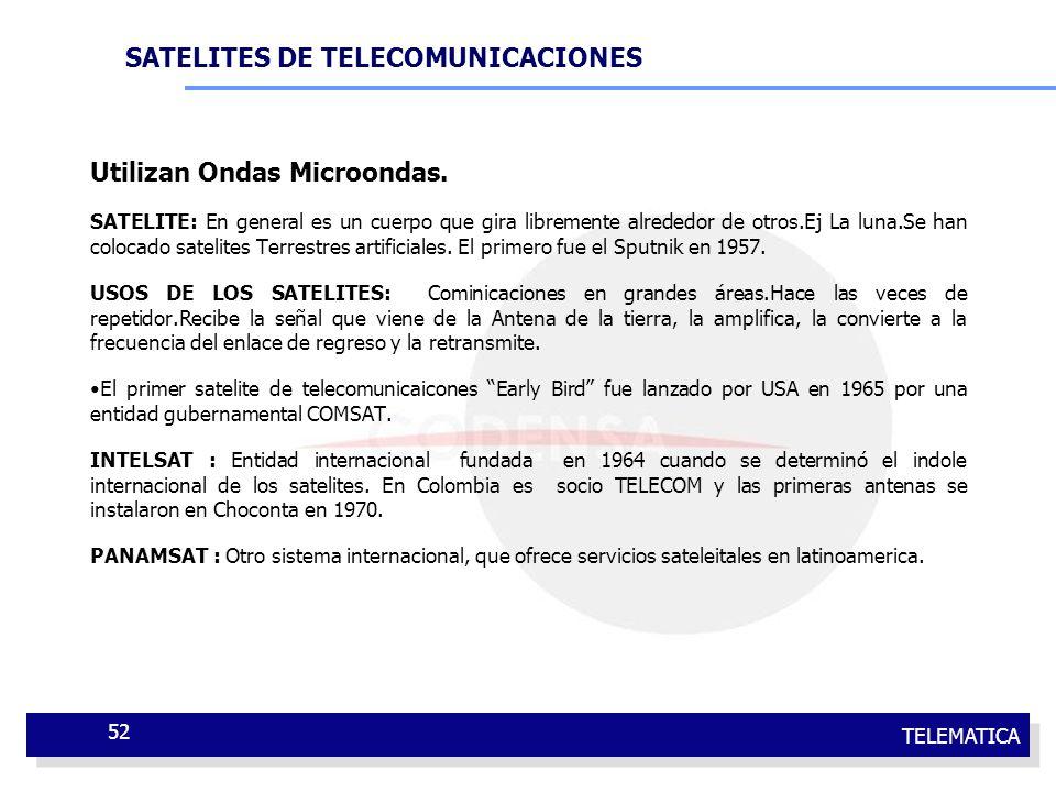 TELEMATICA 52 Utilizan Ondas Microondas. SATELITE: En general es un cuerpo que gira libremente alrededor de otros.Ej La luna.Se han colocado satelites