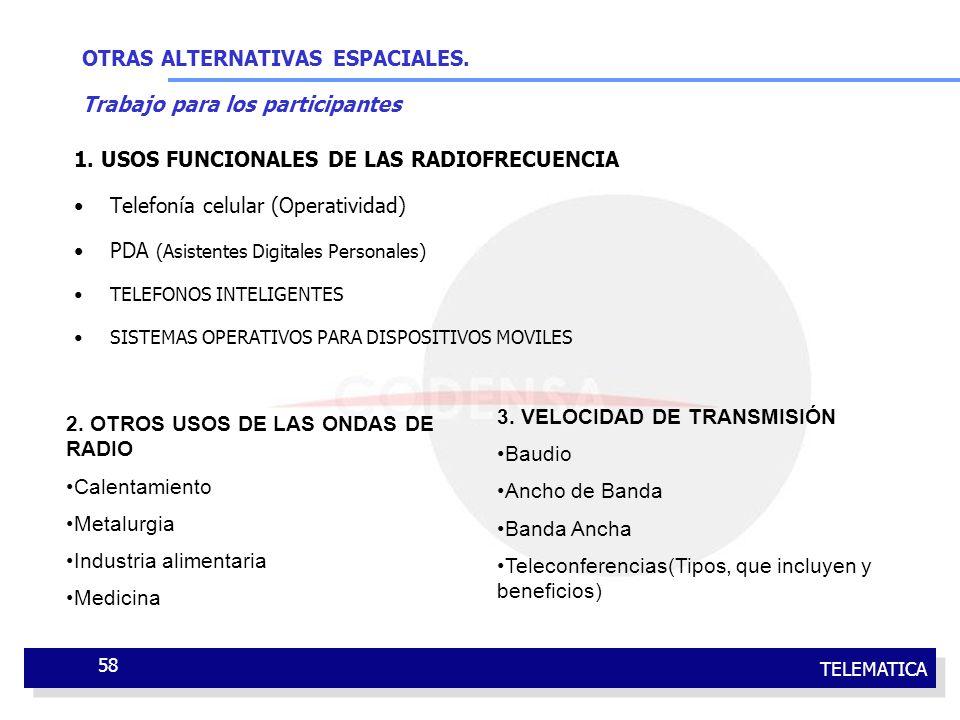 TELEMATICA 58 OTRAS ALTERNATIVAS ESPACIALES. Trabajo para los participantes 1. USOS FUNCIONALES DE LAS RADIOFRECUENCIA Telefonía celular (Operatividad