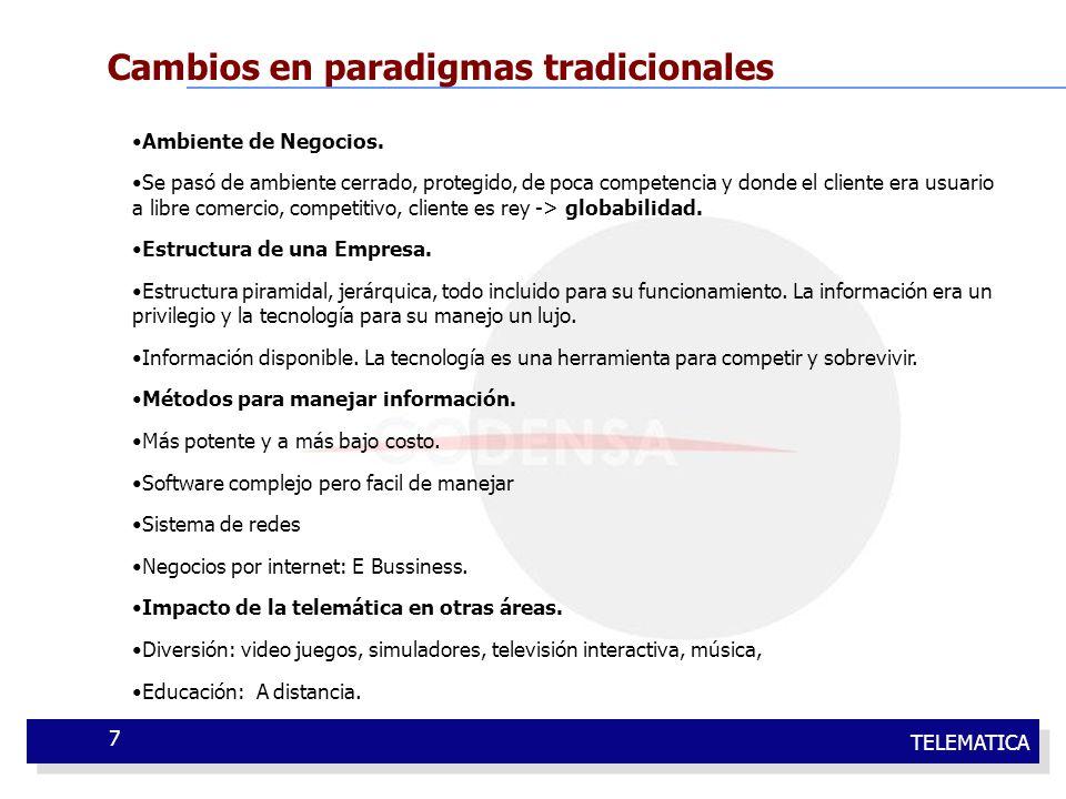 TELEMATICA 7 Cambios en paradigmas tradicionales Ambiente de Negocios. Se pasó de ambiente cerrado, protegido, de poca competencia y donde el cliente