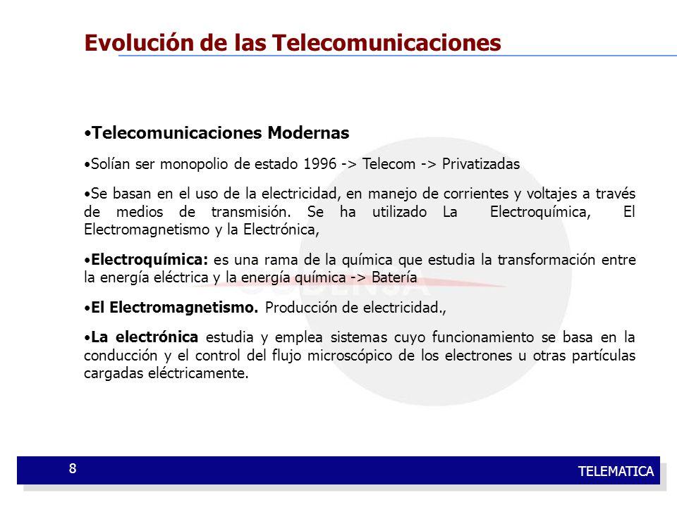 TELEMATICA 8 Evolución de las Telecomunicaciones Telecomunicaciones Modernas Solían ser monopolio de estado 1996 -> Telecom -> Privatizadas Se basan e