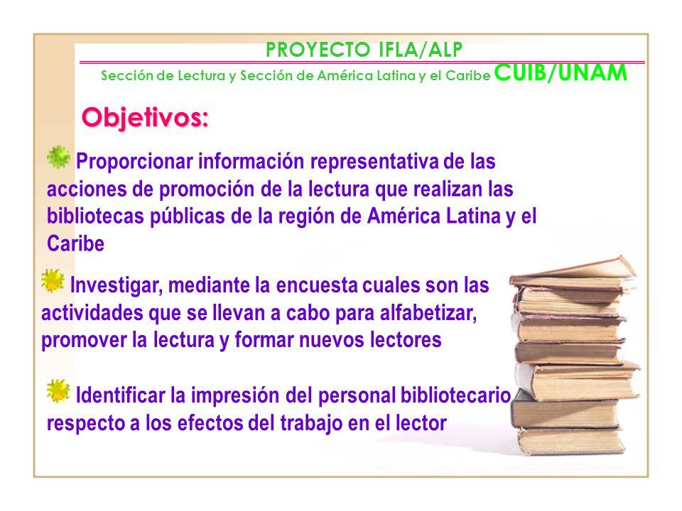 Misión: PROYECTO IFLA/ALP Sección de Lectura y Sección de América Latina y el Caribe CUIB/UNAM Conocer y documentar la contribución de las bibliotecas