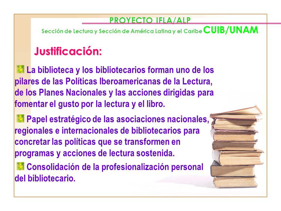 PROYECTO IFLA/ALP Sección de Lectura y Sección de América Latina y el Caribe CUIB/UNAM Objetivos: Difundir ejemplos de programas relacionados con el f