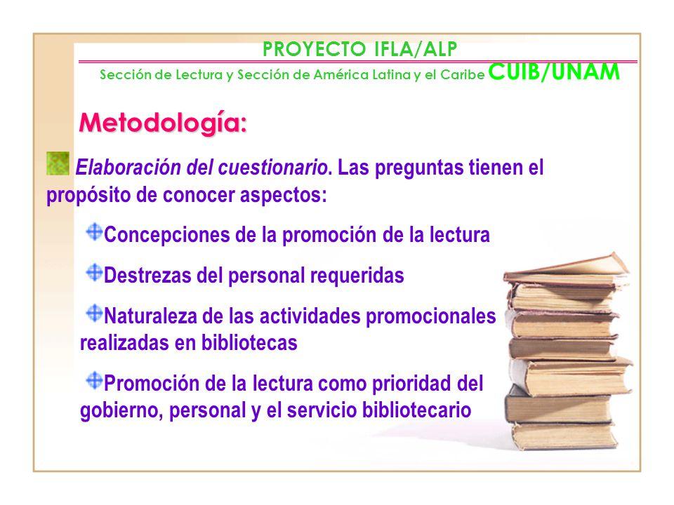 PROYECTO IFLA/ALP Sección de Lectura y Sección de América Latina y el Caribe CUIB/UNAM Justificación: La biblioteca y los bibliotecarios forman uno de