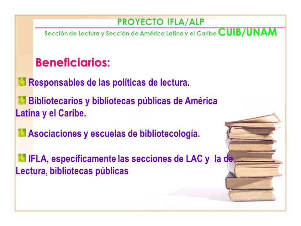 PROYECTO IFLA/ALP Sección de Lectura y Sección de América Latina y el Caribe CUIB/UNAM Metodología: Muestra. Muestra representativa de los diferentes