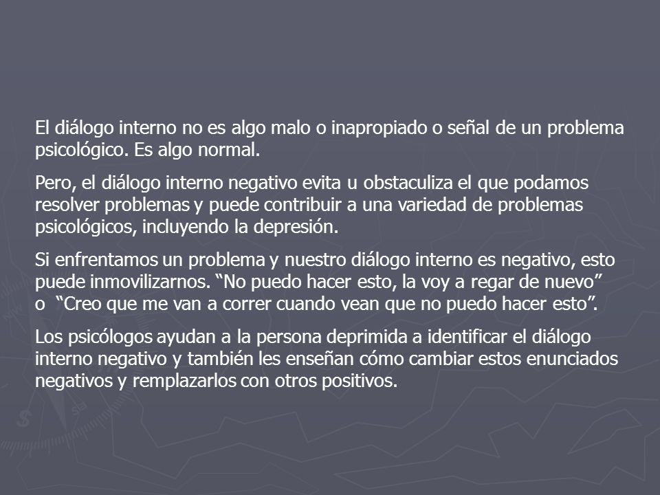 El diálogo interno no es algo malo o inapropiado o señal de un problema psicológico.