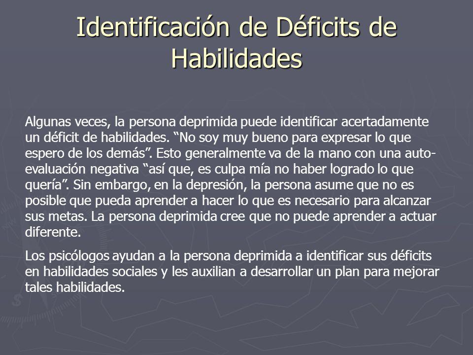 Identificación de Déficits de Habilidades Algunas veces, la persona deprimida puede identificar acertadamente un déficit de habilidades. No soy muy bu