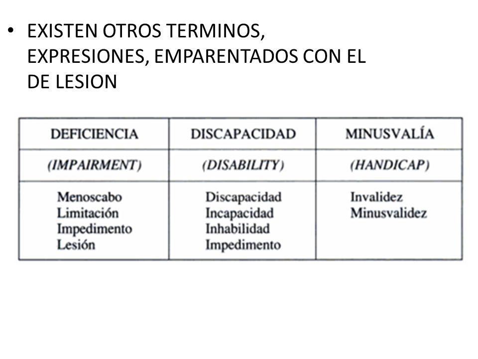 EXISTEN OTROS TERMINOS, EXPRESIONES, EMPARENTADOS CON EL DE LESION