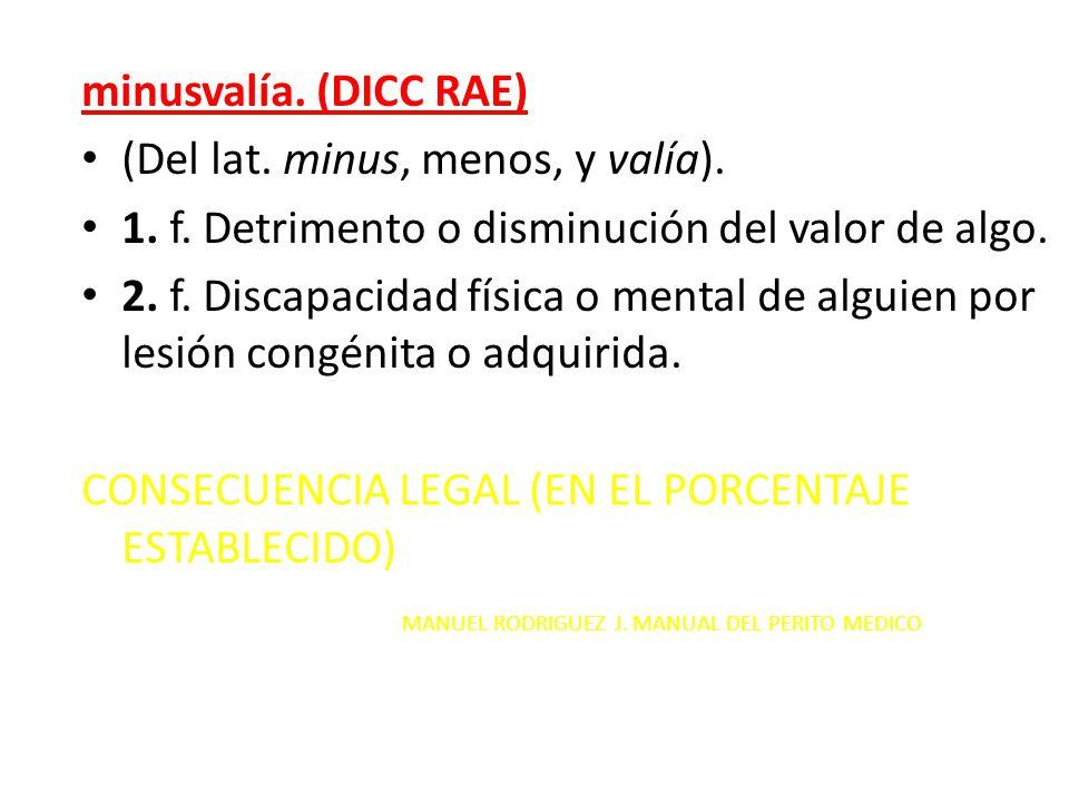 minusvalía. (DICC RAE) (Del lat. minus, menos, y valía). 1. f. Detrimento o disminución del valor de algo. 2. f. Discapacidad física o mental de algui