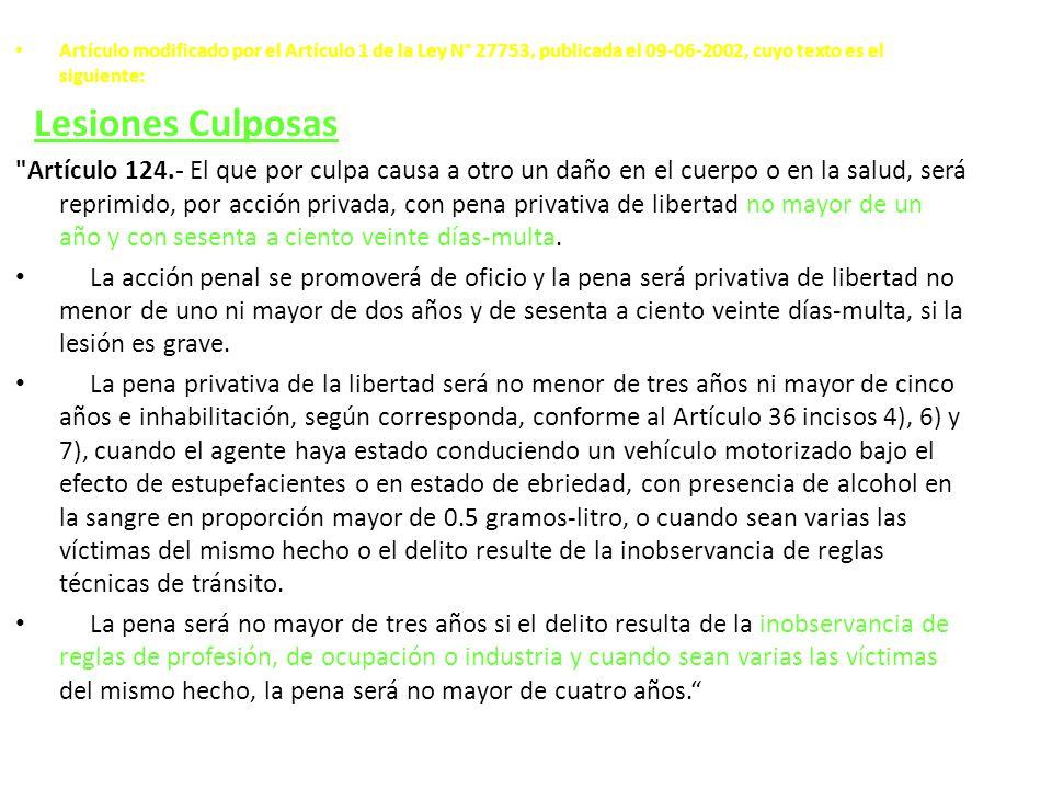 Artículo modificado por el Artículo 1 de la Ley N° 27753, publicada el 09-06-2002, cuyo texto es el siguiente: Lesiones Culposas