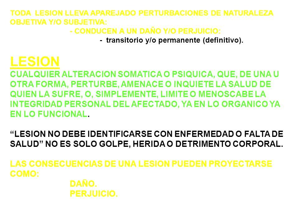 TODA LESION LLEVA APAREJADO PERTURBACIONES DE NATURALEZA OBJETIVA Y/O SUBJETIVA: - CONDUCEN A UN DAÑO Y/O PERJUICIO: - transitorio y/o permanente (definitivo).