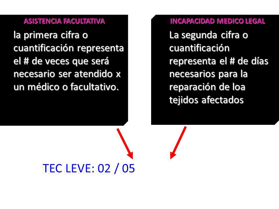 TEC LEVE: 02 / 05 ASISTENCIA FACULTATIVA la primera cifra o cuantificación representa el # de veces que será necesario ser atendido x un médico o facu