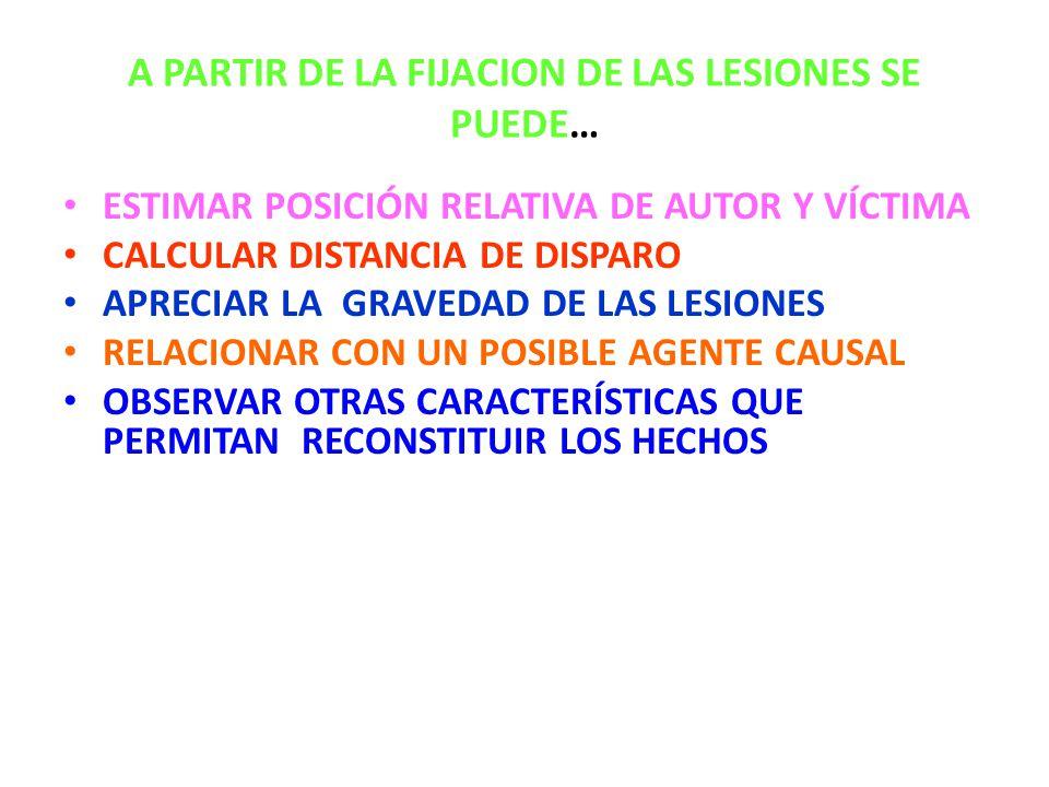 A PARTIR DE LA FIJACION DE LAS LESIONES SE PUEDE… ESTIMAR POSICIÓN RELATIVA DE AUTOR Y VÍCTIMA CALCULAR DISTANCIA DE DISPARO APRECIAR LA GRAVEDAD DE LAS LESIONES RELACIONAR CON UN POSIBLE AGENTE CAUSAL OBSERVAR OTRAS CARACTERÍSTICAS QUE PERMITAN RECONSTITUIR LOS HECHOS