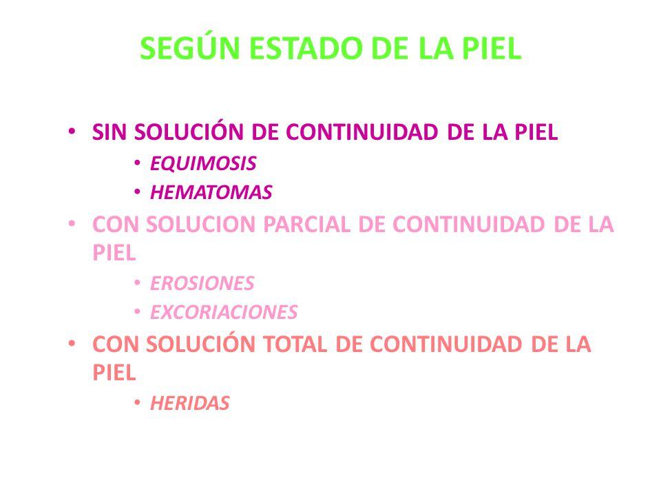 SEGÚN ESTADO DE LA PIEL SIN SOLUCIÓN DE CONTINUIDAD DE LA PIEL EQUIMOSIS HEMATOMAS CON SOLUCION PARCIAL DE CONTINUIDAD DE LA PIEL EROSIONES EXCORIACIONES CON SOLUCIÓN TOTAL DE CONTINUIDAD DE LA PIEL HERIDAS