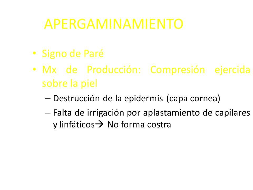 APERGAMINAMIENTO Signo de Paré Mx de Producción: Compresión ejercida sobre la piel – Destrucción de la epidermis (capa cornea) – Falta de irrigación por aplastamiento de capilares y linfáticos No forma costra