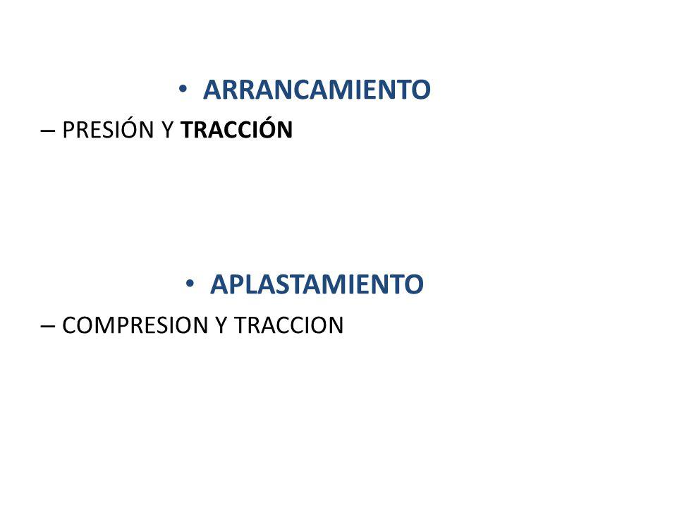 ARRANCAMIENTO – PRESIÓN Y TRACCIÓN APLASTAMIENTO – COMPRESION Y TRACCION