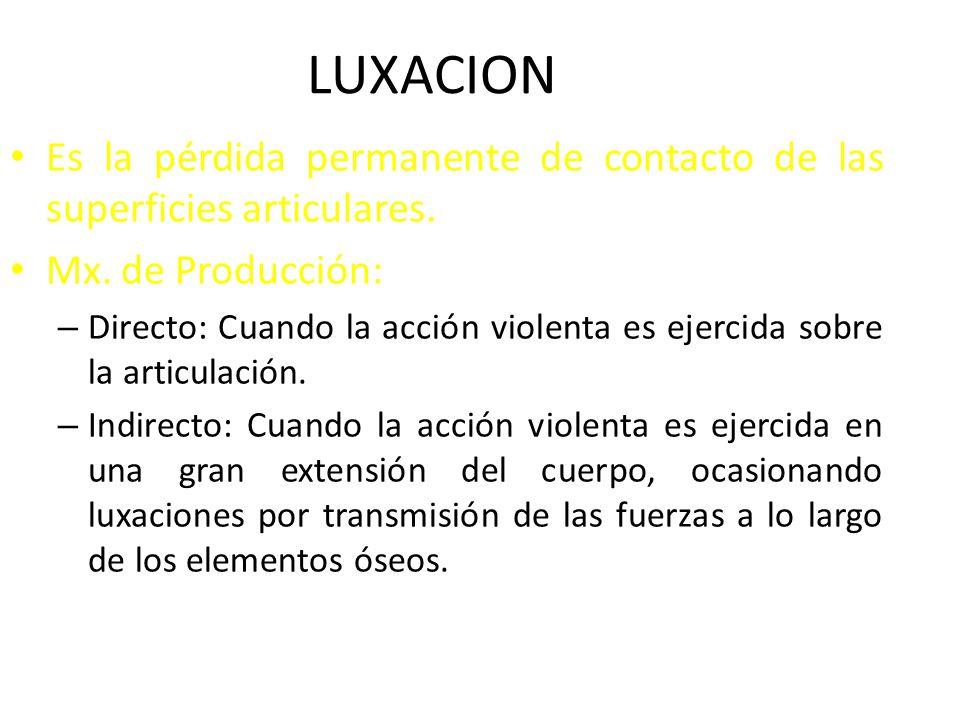 LUXACION Es la pérdida permanente de contacto de las superficies articulares. Mx. de Producción: – Directo: Cuando la acción violenta es ejercida sobr