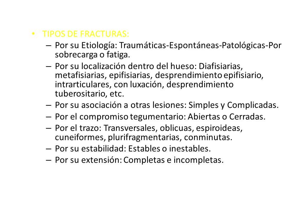 TIPOS DE FRACTURAS: – Por su Etiología: Traumáticas-Espontáneas-Patológicas-Por sobrecarga o fatiga. – Por su localización dentro del hueso: Diafisiar