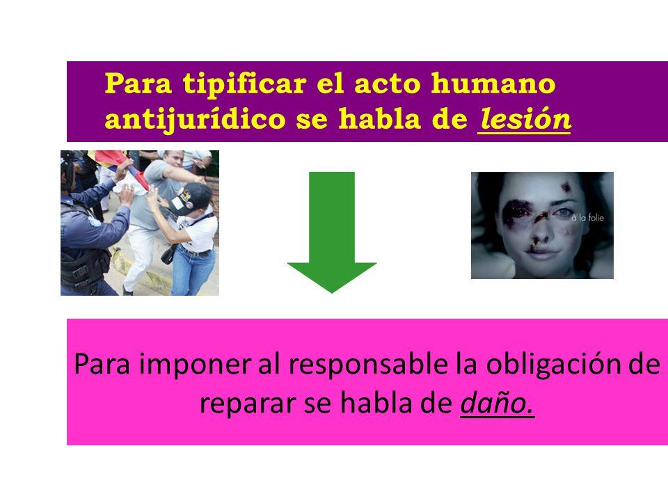 Para imponer al responsable la obligación de reparar se habla de daño. Para tipificar el acto humano antijurídico se habla de lesión