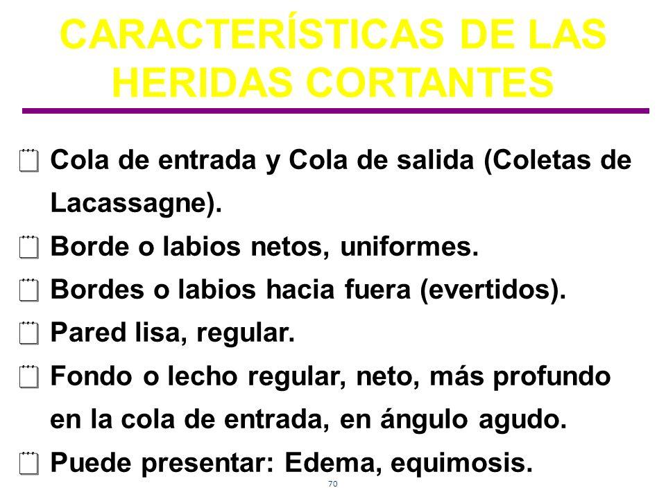 70 CARACTERÍSTICAS DE LAS HERIDAS CORTANTES Cola de entrada y Cola de salida (Coletas de Lacassagne). Borde o labios netos, uniformes. Bordes o labios