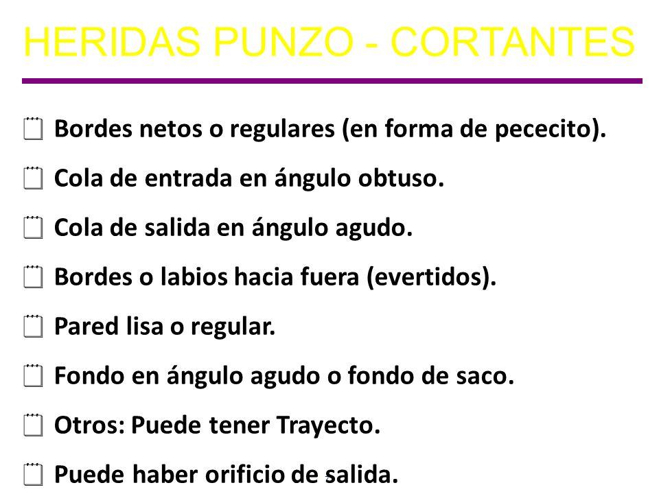 72 HERIDAS PUNZO - CORTANTES Bordes netos o regulares (en forma de pececito).