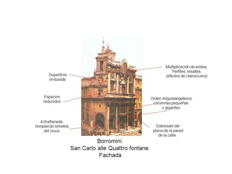 Borromini. San Carlo alle Quattro fontane. Fachada Achaflanada rompiendo simetría del cruce Sobresale del plano de la pared de la calle. Orden miguela