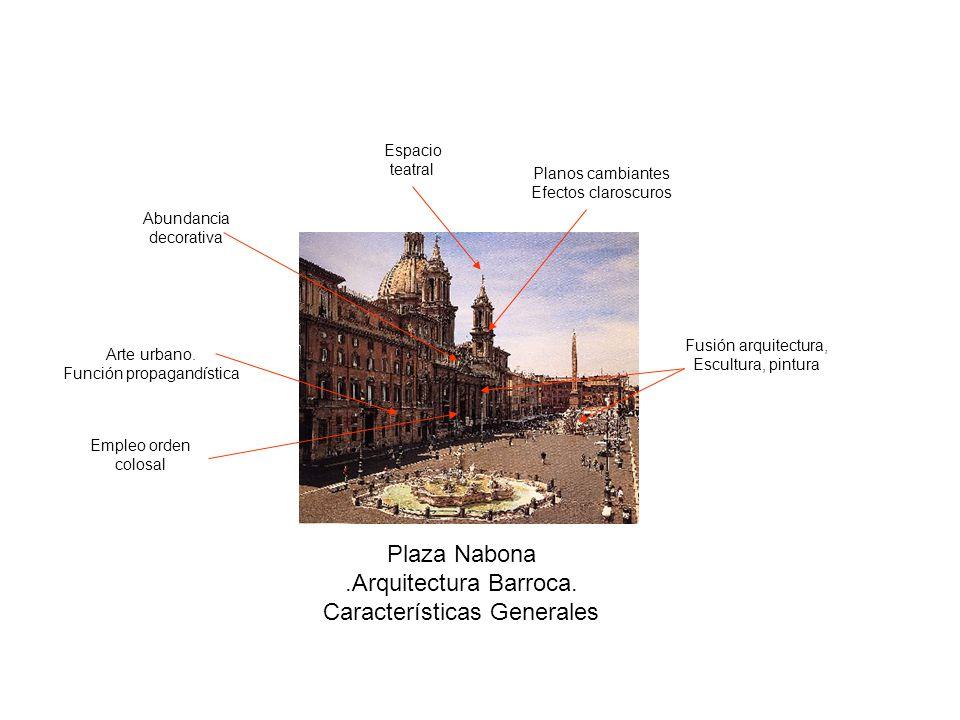 Plaza Nabona.Arquitectura Barroca. Características Generales Arte urbano. Función propagandística Fusión arquitectura, Escultura, pintura Espacio teat