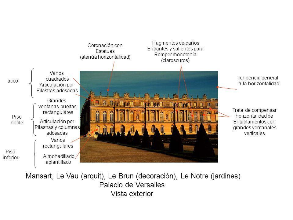 Mansart, Le Vau (arquit), Le Brun (decoración), Le Notre (jardines) Palacio de Versalles. Vista exterior Almohadillado aplantillado Piso inferior Vano